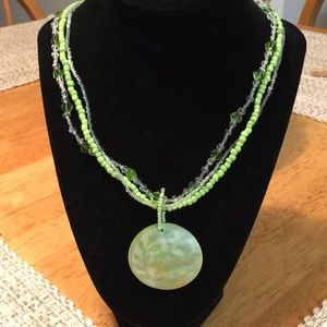 Glass Bead Necklace with Mother of Pearl Pendant